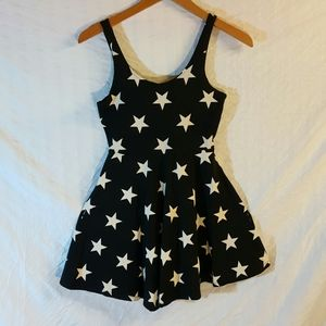 XS pink dress black and white stars